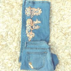 Selling this Decorated Faded Jeans in my Poshmark closet! My username is: evolvingalways. #shopmycloset #poshmark #fashion #shopping #style #forsale #Denim