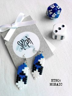 Pixelated etno earrings Mosiac in Estonian flag colors made out of Hama Mini Perler Beads by SylphDesigns