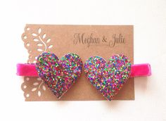 Party Glitter Hearts Hair Clips . Glitter hair by MeghanandJulie, $6.00