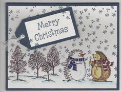Holiday Hedgehogs Christmas Card (Navy)