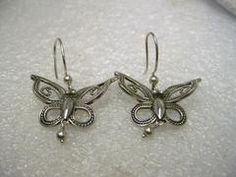 """Sterling Silver Butterfly Dangle Pierced Earrings, Cut-Out, Boho, 1.5"""""""