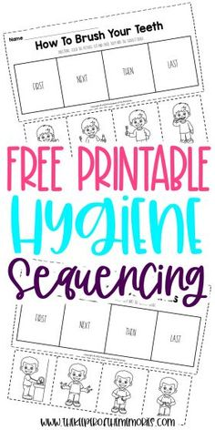 These Preschool Sequencing Worksheets are great for practicing creative thinking and problem solving skills as well as teaching little kids personal hygiene routines. Grab yours today! #preschool #sequencing #hygiene #personalcare #preschoolworksheets #sequencingworksheets #hygieneworksheets Sequencing Worksheets, Printable Preschool Worksheets, Free Preschool, Worksheets For Kids, Free Printables, Preschool Crafts, Sensory Activities Toddlers, Social Skills Activities, Literacy Skills