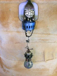 Sold - Now On Etsy At Louzart - Burning Man Steampunk Industrial Grunge Crystal Fantasy by louzart, $60.00