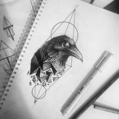 Raven tattoo design. Make the pieces coming off the raven rainbow/multi colored. The raven head stays black as do the lines behind it