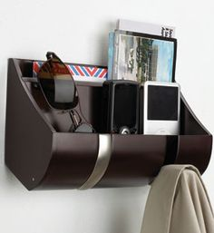 The Wood Flip Hook Cubby Organizer - White is a mail organizer a coat rack and has two general storage bins for cell phones and other small items. Entry Organization, Hallway Storage, Organization Skills, Organization Station, Paper Organization, Cubbies, Mail Holder, Support Mural, Wall Mounted Shelves