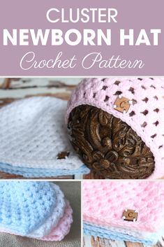 Try this Cluster Newborn Hat crochet pattern for an adorable little newborn with Ashley's video tutorial! #crochet #crochetlove #crochetaddict #crochetpattern #crochetinspiration #ilovecrochet #crochetgifts #crochet365 #addictedtocrochet #yarnaddict #yarnlove #crochethat