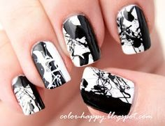 black and white splatter nail art. I Would Put This On My Ring Finger Only