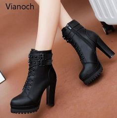 2018 Womens Ankle Boots Sexy Platform Pumps Winter Fur Black Heeled Shoes Lady Fashion New Stilettos, Pumps Heels, High Heels, Stiletto Heels, Heeled Boots, Bootie Boots, Shoe Boots, Boot Heels, Ankle Heels