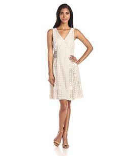 68fe0a102b694 Donna Morgan Women s Sleeveless Eyelet Tie Front Fit and Flare