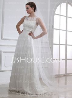 Wedding Dresses - $232.99 - A-Line/Princess Scoop Neck Sweep Train Satin Tulle Wedding Dress With Lace Beadwork (002004543) http://jjshouse.com/A-Line-Princess-Scoop-Neck-Sweep-Train-Satin-Tulle-Wedding-Dress-With-Lace-Beadwork-002004543-g4543