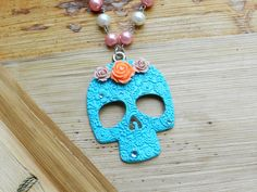 Large Handpainted Bright Teal Sugar Skull Necklace by AbbiesAnchor