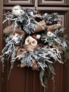 Winter Christmas Wreath with Burlap Owls & by AngelsNestFlowers, $225.00