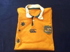 Wallabies 2003 World Cup Rugby Jersey XL Mustard Cotton Blend #Wallabies #Jerseys