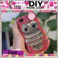"""""""DIY Phone Case"""" by the-tip-girls-of-narnia on Polyvore. WOW!! YOU WILL NEED: A phone case, a 'hipster' owl necklace, a rose earring (forever 21 sells good ones.) have fun!"""