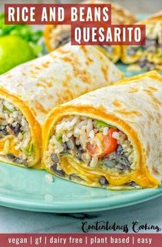 This Rice and Beans Quesarito is entirelly vegan, gluten free and really easy to make. It's tacky, extremely satisfying and so scrumptious for dinner, lunch, meal prep (reheat superbly) and superb for work lunches. Vegan Mexican Recipes, Vegetarian Recipes Dinner, Vegan Dinners, Veggie Recipes, Lunch Recipes, New Recipes, Cooking Recipes, Mexican Desserts, Vegan Recipes Easy Cheap
