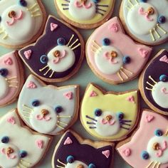Adorable kitty face cookies!