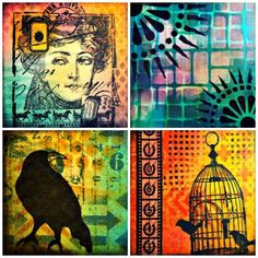 Marjie Kemper Designs #100daysproject - mixed media art journal techniques - Days 85-88