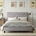 ETHAN HOME Sophie Grey Linen Tufted Platform Bed | Overstock.com