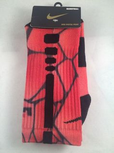 New Nike Elite Lebron James Digital Print Mens Basketball Socks Shoe Size 6-8 #Nike #Athletic