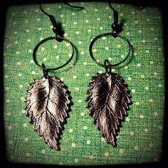 Matte Gunmetal Leaf Earrings by FourSquaredDesigns on Etsy, $20.00
