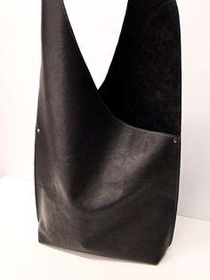 Shoulder Handbag Handmade In Leather - Deep Dark Plum Purple Color. $115.00, via Etsy.