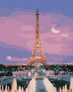 Acrylic Paint By Numbers Kit Canvas 50*40cm 8221 Moonlight Eiffel Tower