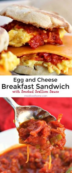 Cheesy Egg Sandwich with Smoked Scallion Sauce is packed with flavor from the incredible smoky tomato sauce. Smoked paprika is the secret to the sauce! You will want to double the recipe to pile on burgers and steaks too!