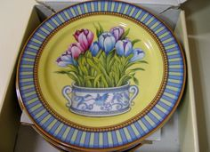 Set of 4 Limoges Decorative Dessert Plates Italy Godinger Blue Yellow Flowers #limoges