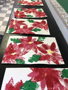 Poinsettia Flowers Art Lesson for Advent for kids - Leah Newton Art Christmas Art Projects, Winter Art Projects, Winter Crafts For Kids, Holiday Crafts, Family Art Projects, Preschool Christmas, Kids Christmas, Crochet Christmas, Christmas Angels