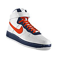 I designed the white, dark blue and orange Virginia Cavaliers Nike Air Force 1 High iD women's shoe.