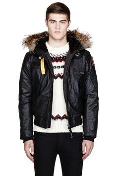 parajumpers black leather gobi jacket