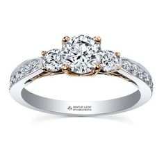ML212 Available from 0.75 Total Carat Weight to 1.15 Total Carat Weight Round Brilliant cut Canadian center 18KPD & Rose gold accents