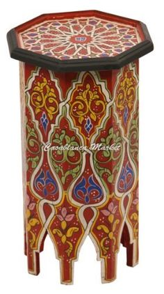 Dari Hand Painted Side Table, Red, Http://www.amazon.