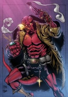 hellboy color by assis leite by adagadegelo on DeviantArt Comic Book Characters, Comic Character, Comic Books Art, Comic Art, Hellboy Wallpaper, Hulk Tattoo, Mike Mignola Art, Graphic Novel Art, Comic Games