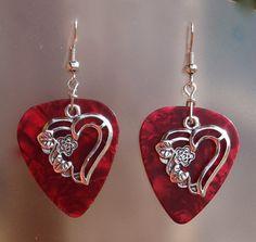 Heart with Rose Earrings Sweetheart Guitar by CraftyCutiesbyDesign, $5.95