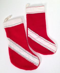 vintage 1960s handmade red Christmas stockings  set of 2 by forrestinavintage, $16.00