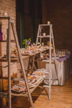 rustic country wedding buffet set up
