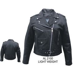 Allstate Lightweight Womens Lambskin Belted MC Motorcycle Jacket comes in solid black and is made of genuine lambskin leather having 3 front zipper pockets and 1 front snap pocket with snap down lapels in a classic belted style for MC, bikers, and cruiser style motorcycle riders.