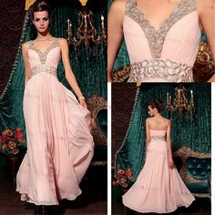 N Stock Perfect A-line V-neck Natural Waist Embroidery Full Length Evening Dress With Hot Drilling A on Luulla