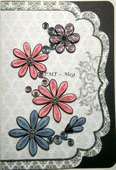 quilling card Love the Black outlines Quilling Paper Craft, Quilling Flowers, Quilling Cards, Paper Crafts, Diy Crafts, 3d Cards, Quilling Designs, Craft Fairs, Paper Cutting