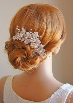 RANICA, Old Hollywood Style LARGE Crystal Wedding Hair Comb, Flower Bouquet and Leaf Rhinestone Bridal Hair Comb, Vintage Inspired. $93.00, via Etsy.