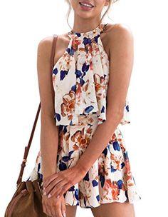 d7bb357947b Omerker Women s Floral Sleeveless Romper Two Piece Summer Outfits Playsuit  Short Jumpsuit Floral Jumpsuit