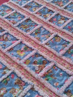 Baby Rag Quilt Pink Flannel and Blue Bears Baby by BABYRAGQUILTS