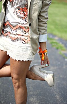 crochet shorts. pretty outfit.