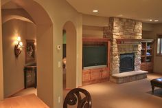 stone fireplace - basement family room someday