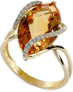 Gemma by EFFY Marquise-Cut Citrine (8-1/2 ct. t.w.) and Diamond (1/8 ct. t.w.) Wrap Ring in 14k Gold on shopstyle.com
