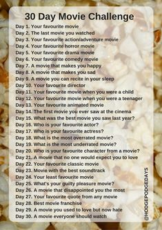 What's the 30 Day Movie Challenge all about? – HodgePodgeDays – What can people do in 30 days 30 Day Instagram Challenge, 30 Day Song Challenge, Journal Challenge, Writing Challenge, Netflix Movies To Watch, Movie To Watch List, Film Watch, Movie List, Challenges Funny