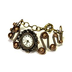 Steampunk Victorian Jewelry  -    Working watch bracelet by CatherinetteRings