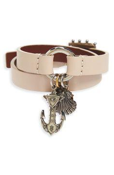 New Alexander McQueen Marine Leather Wrap Bracelet,Black fashion online. [$645]newoffershop win<<