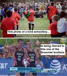 """Two schoolboys had a """"Brownlee brothers moment"""" when one carried the other across the finishing line. Riley Watson, 10, was 60ft from the end of a cross-country race when he collapsed with a stitch. But classmate Julian Otu, also 10, came to his rescue - carrying him in his arms."""